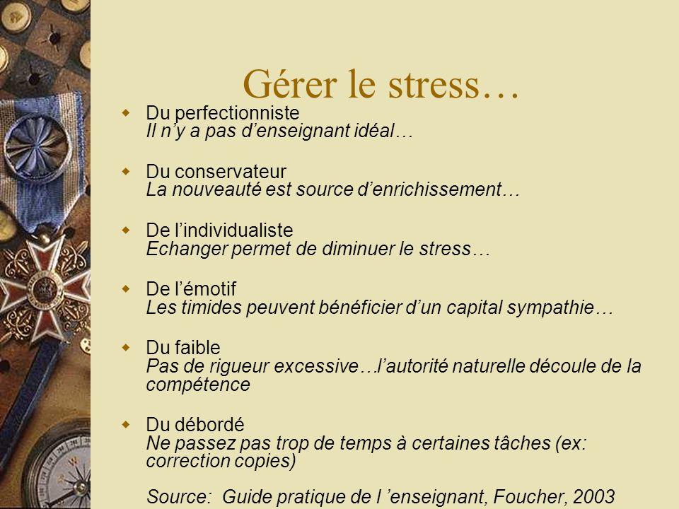Gérer le stress… Du perfectionniste Il ny a pas denseignant idéal… Du conservateur La nouveauté est source denrichissement… De lindividualiste Echange