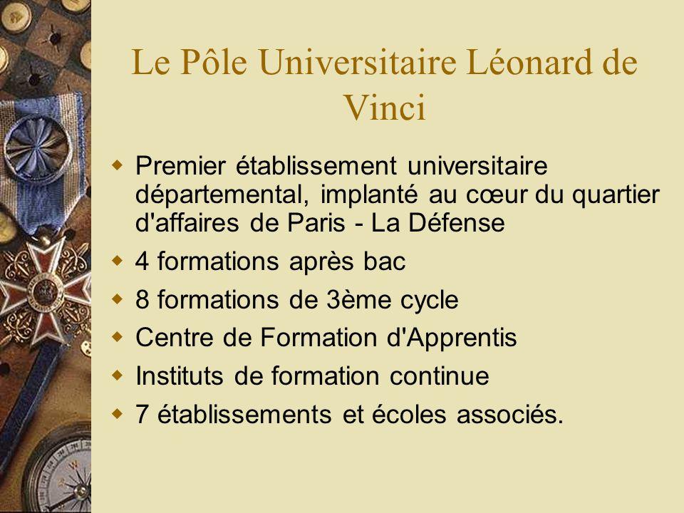 Le Pôle Universitaire Léonard de Vinci Premier établissement universitaire départemental, implanté au cœur du quartier d'affaires de Paris - La Défens