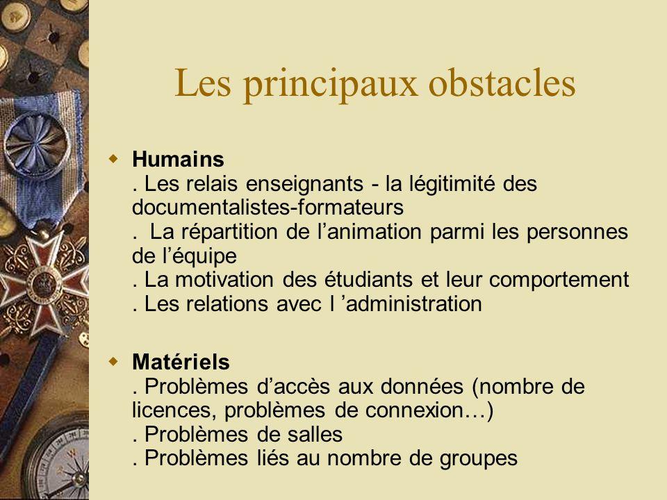 Les principaux obstacles Humains. Les relais enseignants - la légitimité des documentalistes-formateurs. La répartition de lanimation parmi les person