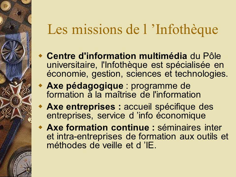 Les missions de l Infothèque Centre d'information multimédia du Pôle universitaire, l'Infothèque est spécialisée en économie, gestion, sciences et tec