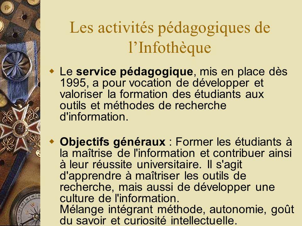 Les activités pédagogiques de lInfothèque Le service pédagogique, mis en place dès 1995, a pour vocation de développer et valoriser la formation des é