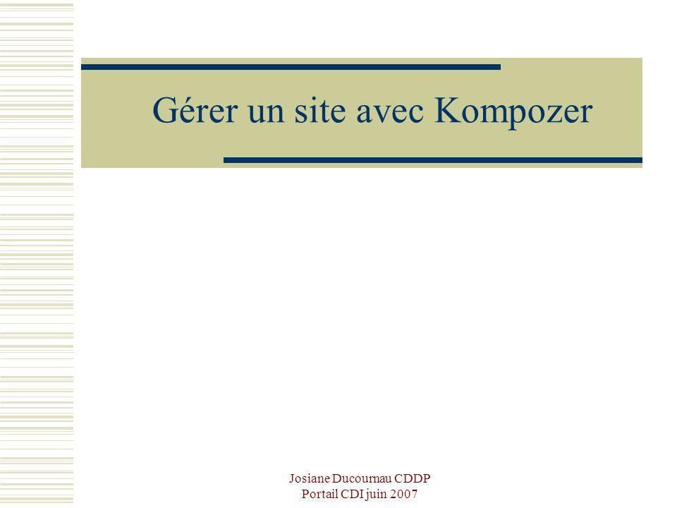 Josiane Ducournau CDDP Portail CDI juin 2007 Gérer un site avec Kompozer