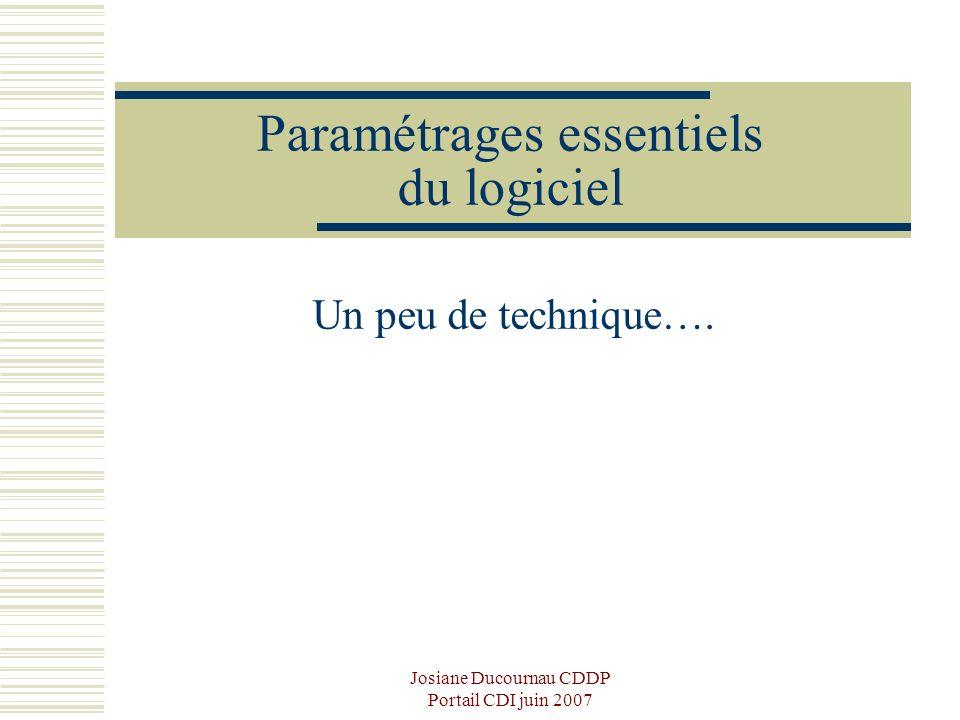 Josiane Ducournau CDDP Portail CDI juin 2007 Paramétrages essentiels du logiciel Un peu de technique….