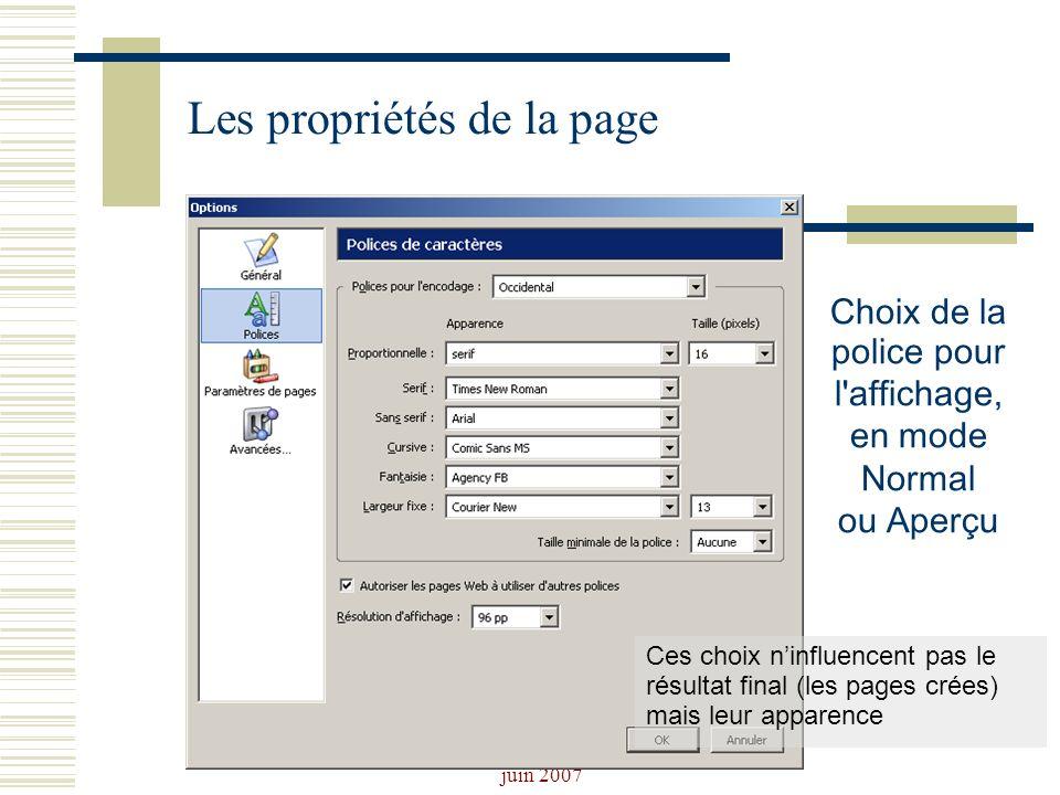 Josiane Ducournau CDDP Portail CDI juin 2007 Les propriétés de la page Choix de la police pour l'affichage, en mode Normal ou Aperçu Ces choix ninflue