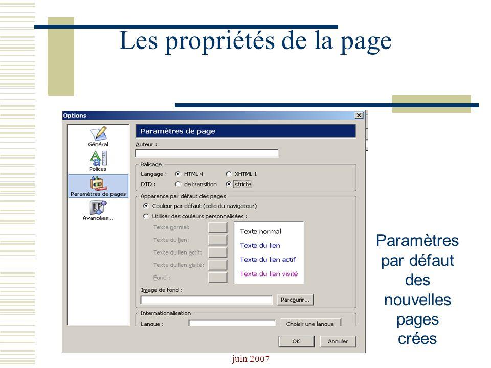 Josiane Ducournau CDDP Portail CDI juin 2007 Les propriétés de la page Paramètres par défaut des nouvelles pages crées