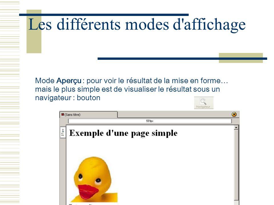 Josiane Ducournau CDDP Portail CDI juin 2007 Les différents modes d'affichage Mode Aperçu : pour voir le résultat de la mise en forme… mais le plus si
