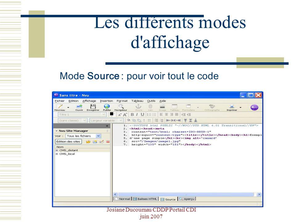 Josiane Ducournau CDDP Portail CDI juin 2007 Les différents modes d'affichage Mode Source : pour voir tout le code