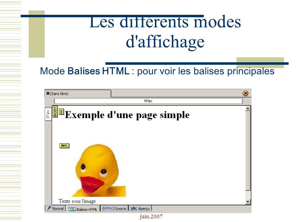Josiane Ducournau CDDP Portail CDI juin 2007 Les différents modes d'affichage Mode Balises HTML : pour voir les balises principales