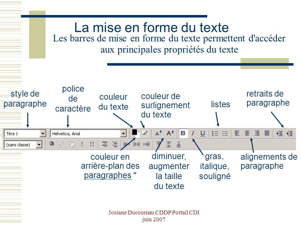 Josiane Ducournau CDDP Portail CDI juin 2007 Les barres de mise en forme du texte permettent d'accéder aux principales propriétés du texte style de pa