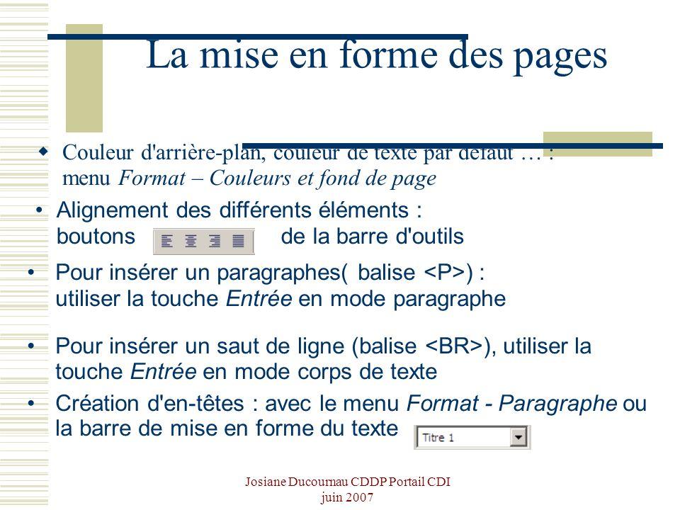 Josiane Ducournau CDDP Portail CDI juin 2007 La mise en forme des pages Couleur d'arrière-plan, couleur de texte par défaut … : menu Format – Couleurs