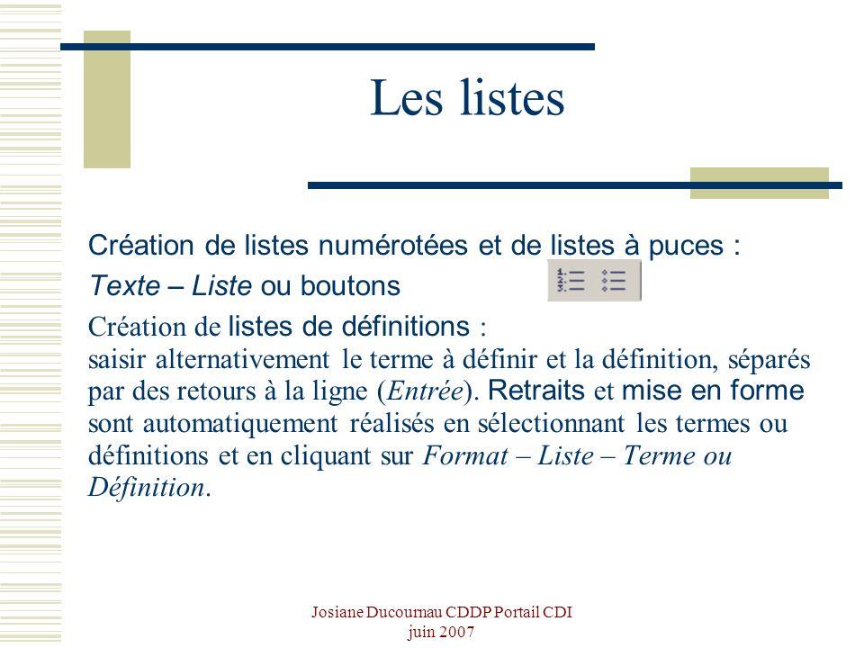 Josiane Ducournau CDDP Portail CDI juin 2007 Les listes Création de listes numérotées et de listes à puces : Texte – Liste ou boutons Création de list