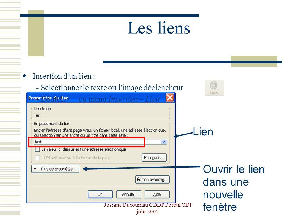 Josiane Ducournau CDDP Portail CDI juin 2007 Les liens Insertion d'un lien : - Sélectionner le texte ou l'image déclencheur - Bouton ou menu Insertion