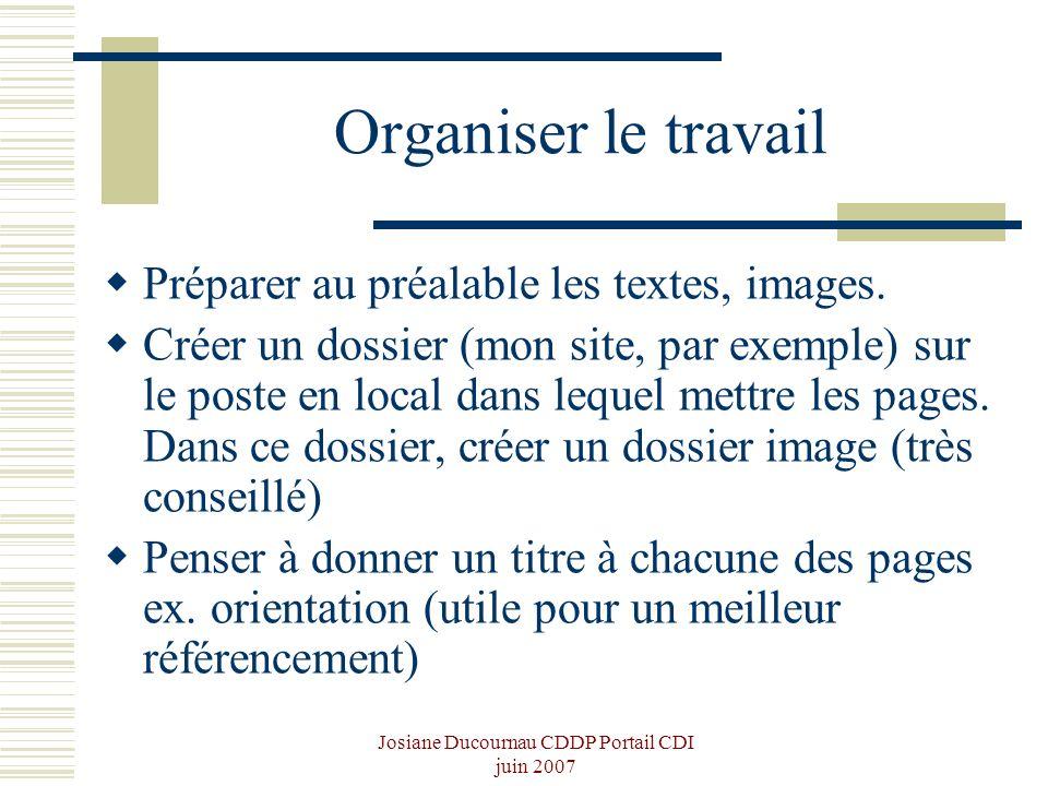 Josiane Ducournau CDDP Portail CDI juin 2007 Organiser le travail Préparer au préalable les textes, images. Créer un dossier (mon site, par exemple) s