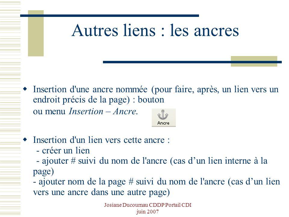 Josiane Ducournau CDDP Portail CDI juin 2007 Autres liens : les ancres Insertion d'une ancre nommée (pour faire, après, un lien vers un endroit précis