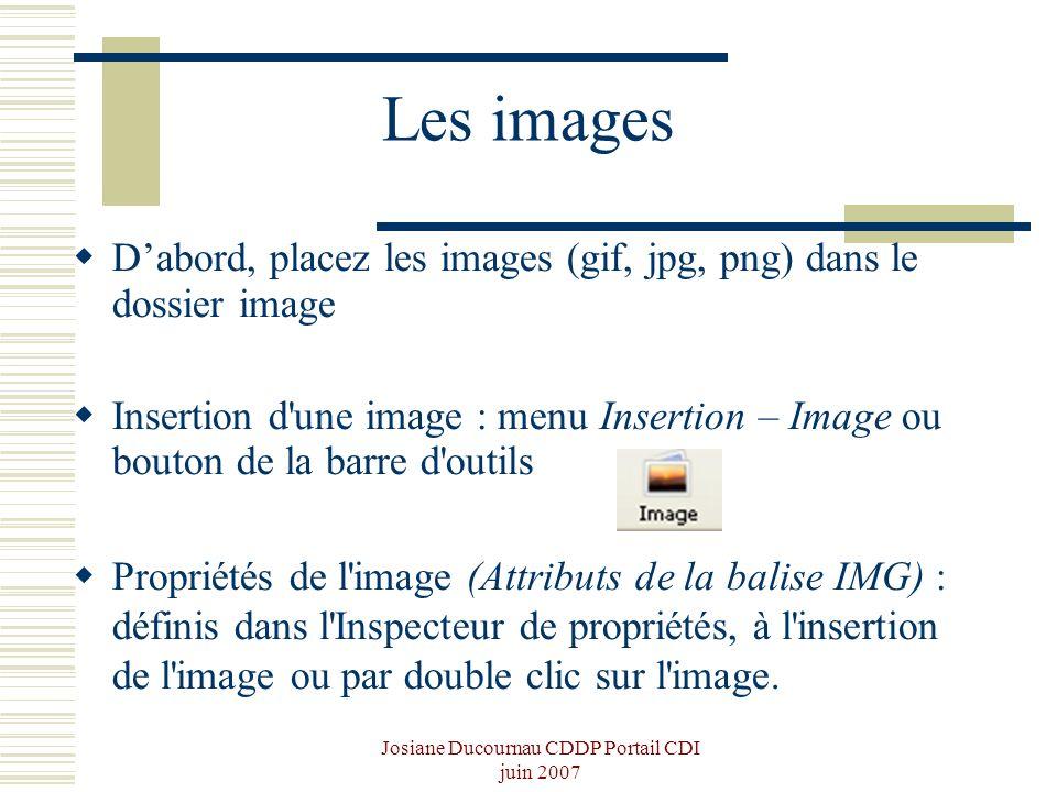 Josiane Ducournau CDDP Portail CDI juin 2007 Les images Dabord, placez les images (gif, jpg, png) dans le dossier image Insertion d'une image : menu I