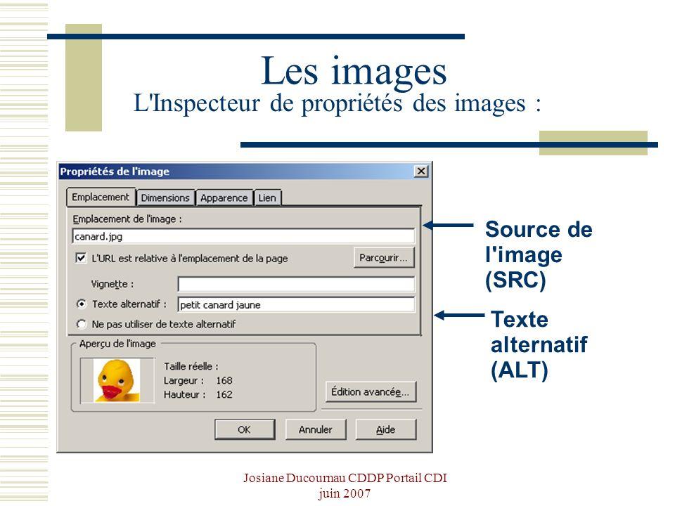 Josiane Ducournau CDDP Portail CDI juin 2007 Les images L'Inspecteur de propriétés des images : Source de l'image (SRC) Texte alternatif (ALT)