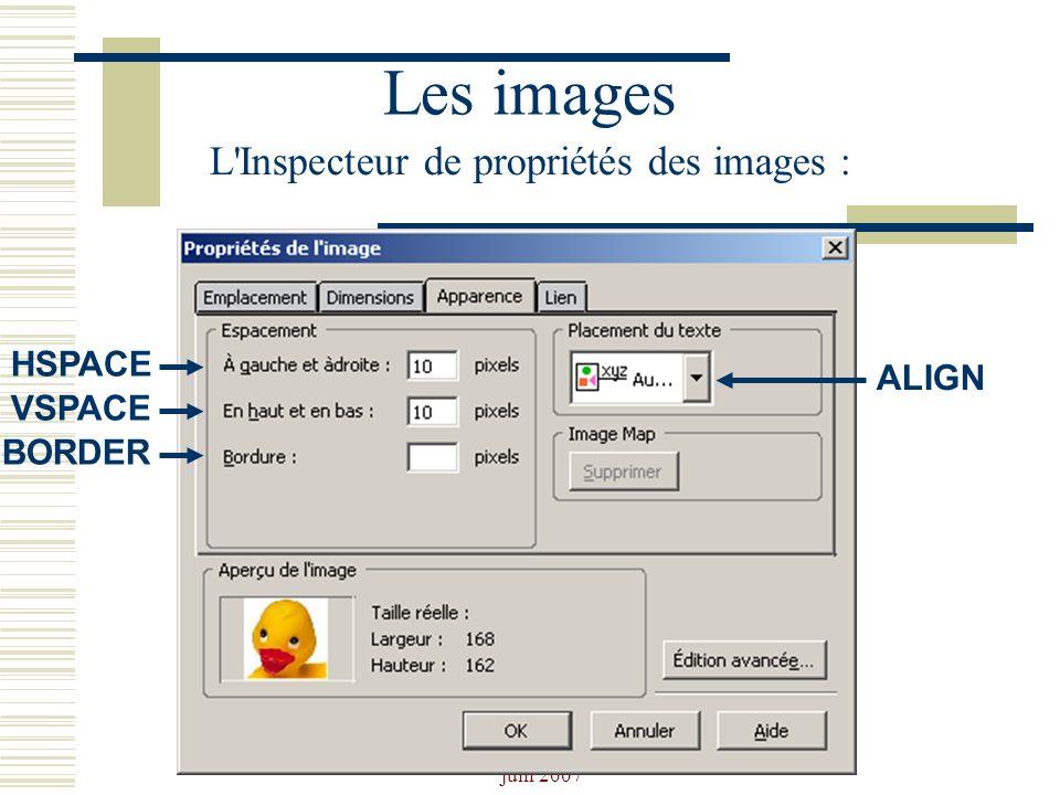 Josiane Ducournau CDDP Portail CDI juin 2007 Les images L'Inspecteur de propriétés des images : HSPACE VSPACE BORDER ALIGN