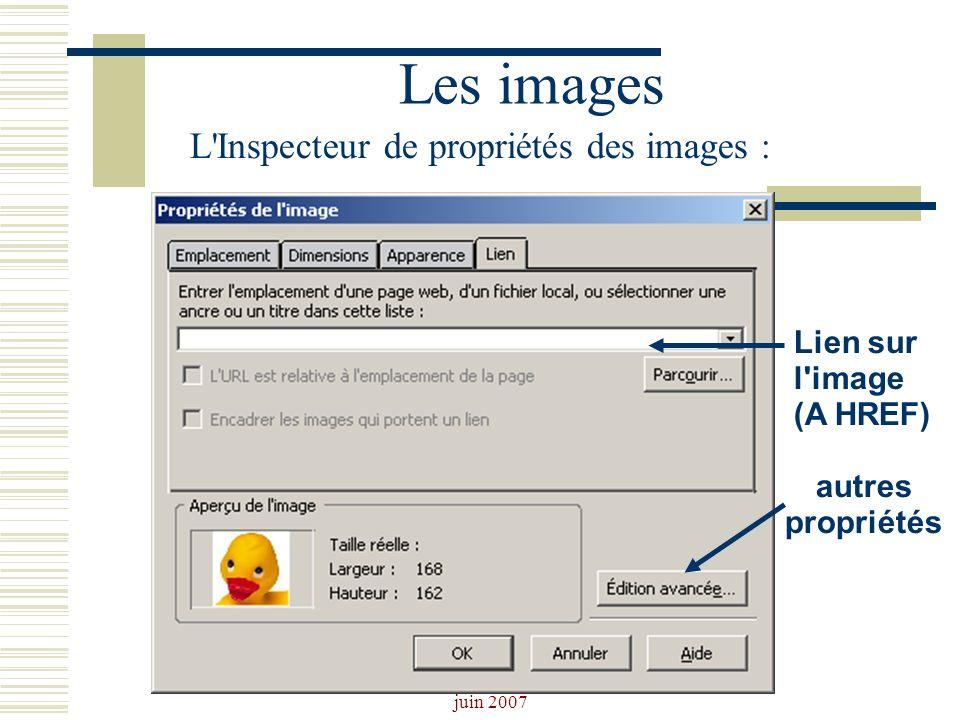 Josiane Ducournau CDDP Portail CDI juin 2007 Les images L'Inspecteur de propriétés des images : Lien sur l'image (A HREF) autres propriétés