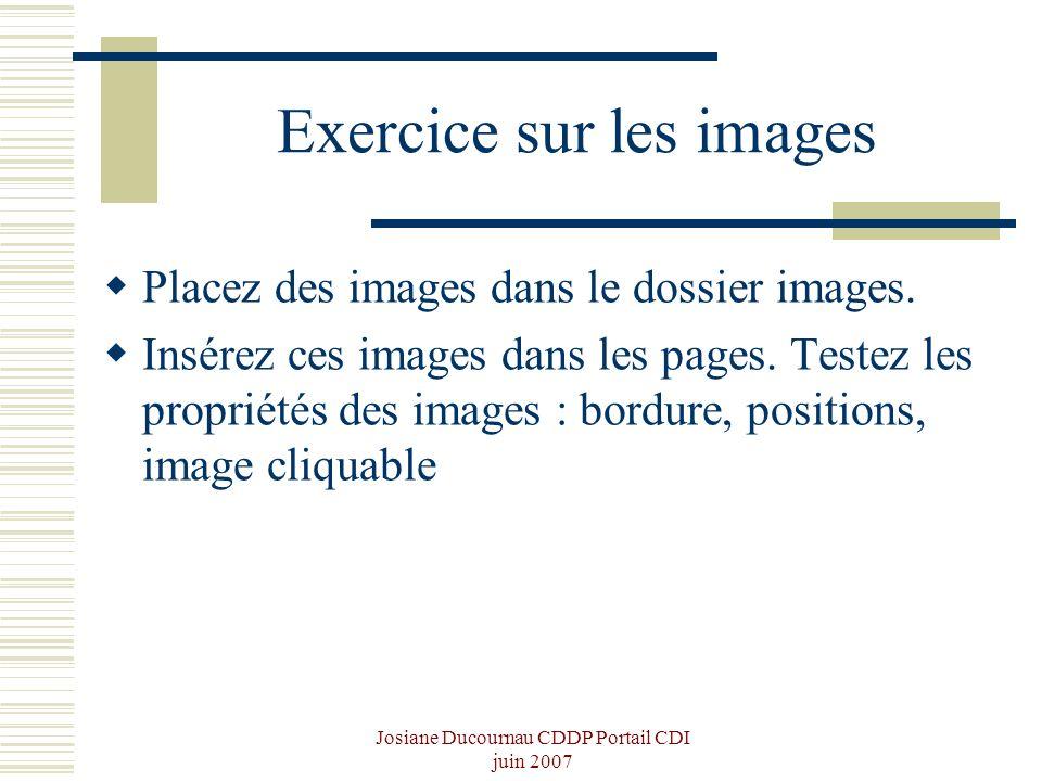Josiane Ducournau CDDP Portail CDI juin 2007 Exercice sur les images Placez des images dans le dossier images. Insérez ces images dans les pages. Test