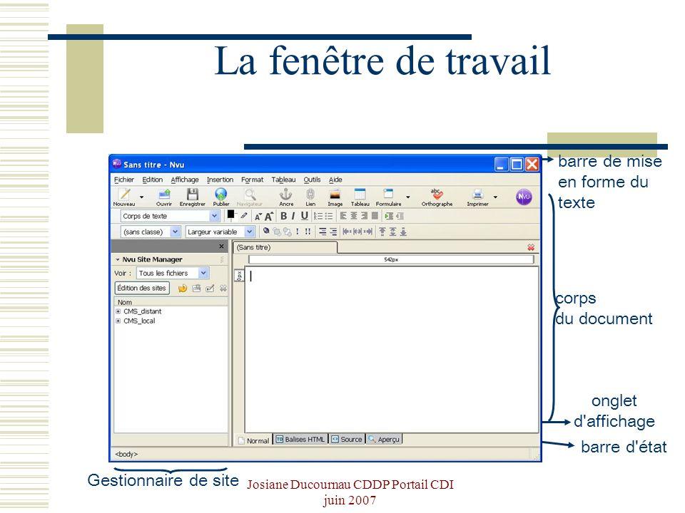 Josiane Ducournau CDDP Portail CDI juin 2007 barre d'état corps du document Gestionnaire de site barre de mise en forme du texte onglet d'affichage La