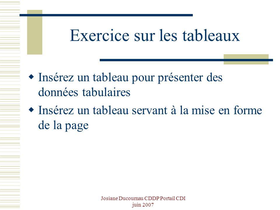 Josiane Ducournau CDDP Portail CDI juin 2007 Exercice sur les tableaux Insérez un tableau pour présenter des données tabulaires Insérez un tableau ser