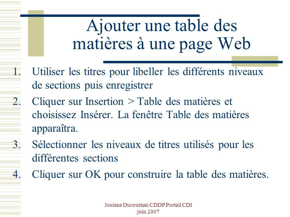 Josiane Ducournau CDDP Portail CDI juin 2007 Ajouter une table des matières à une page Web 1.Utiliser les titres pour libeller les différents niveaux