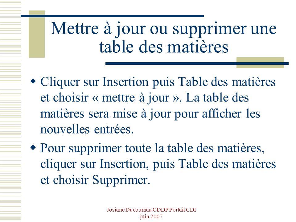 Josiane Ducournau CDDP Portail CDI juin 2007 Mettre à jour ou supprimer une table des matières Cliquer sur Insertion puis Table des matières et choisi