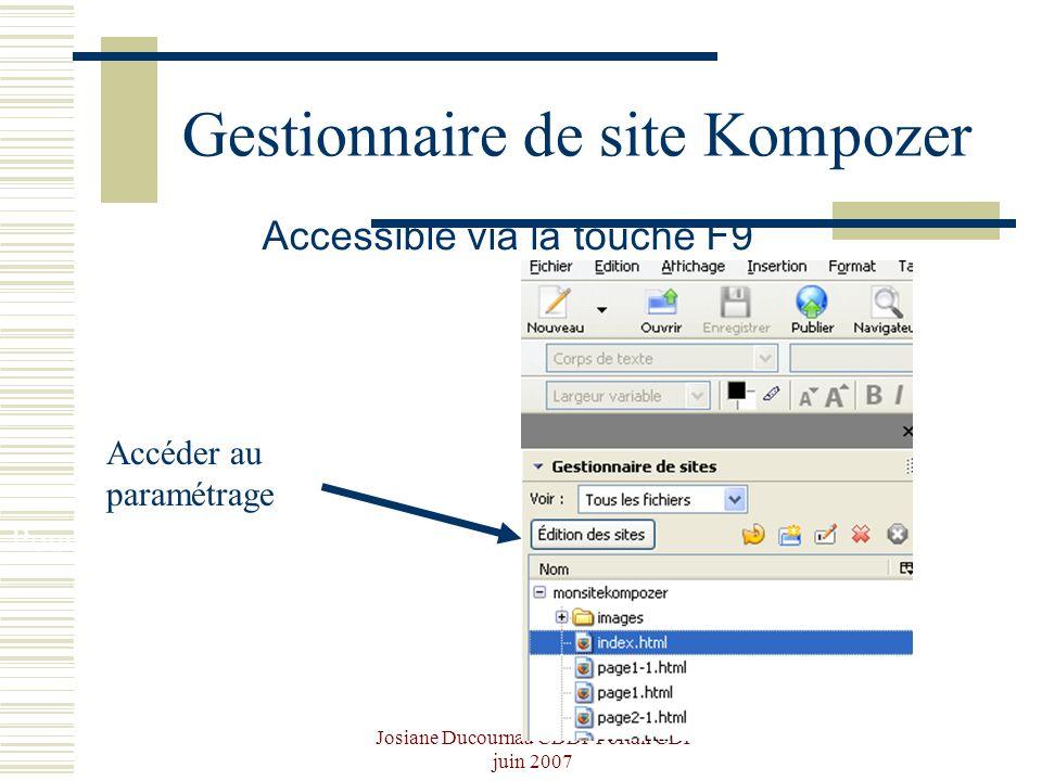 Josiane Ducournau CDDP Portail CDI juin 2007 Gestionnaire de site Kompozer Accessible via la touche F9 Pour p Accéder au paramétrage