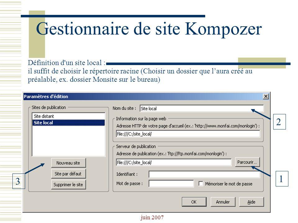 Josiane Ducournau CDDP Portail CDI juin 2007 Gestionnaire de site Kompozer Définition d'un site local : il suffit de choisir le répertoire racine (Cho