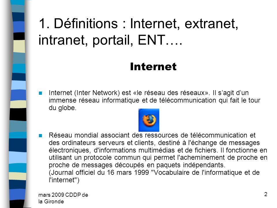 mars 2009 CDDP de la Gironde 2 1. Définitions : Internet, extranet, intranet, portail, ENT…. Internet Internet (Inter Network) est «le réseau des rése