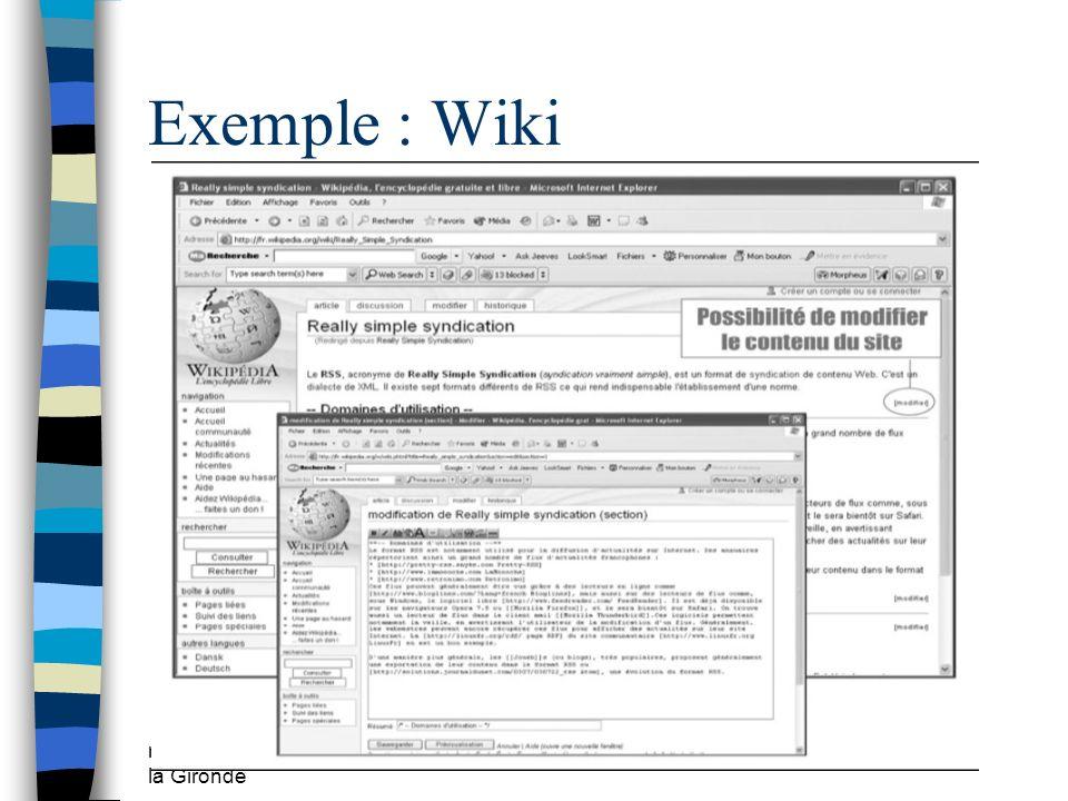 mars 2009 CDDP de la Gironde Exemple : Wiki