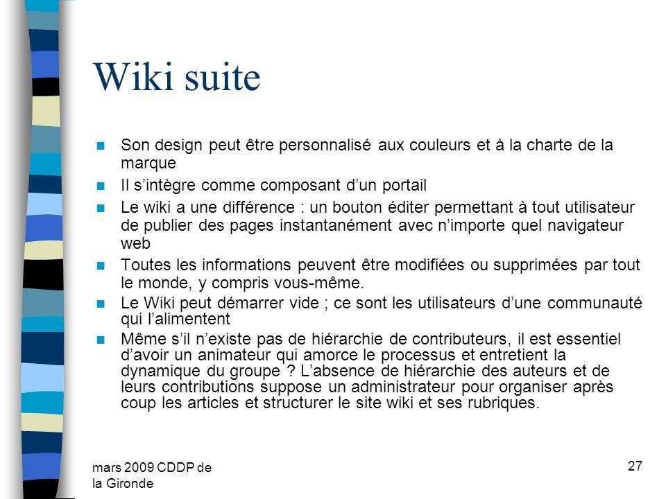 mars 2009 CDDP de la Gironde Wiki suite Son design peut être personnalisé aux couleurs et à la charte de la marque Il sintègre comme composant dun por