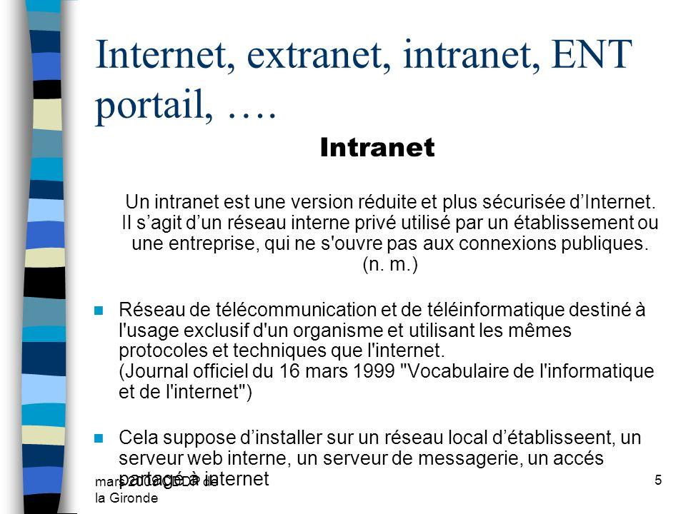 mars 2009 CDDP de la Gironde 5 Internet, extranet, intranet, ENT portail, …. Intranet Un intranet est une version réduite et plus sécurisée dInternet.