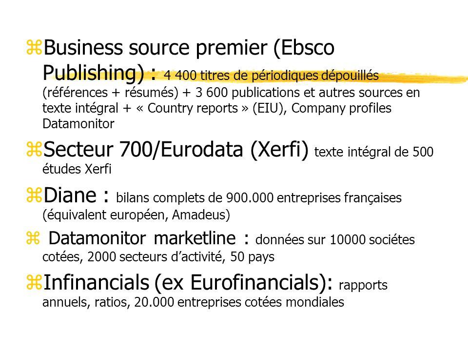 zBusiness source premier (Ebsco Publishing) : 4 400 titres de périodiques dépouillés (références + résumés) + 3 600 publications et autres sources en