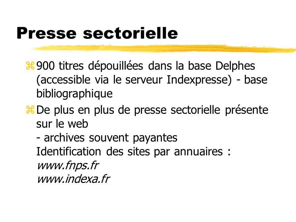 Presse sectorielle z900 titres dépouillées dans la base Delphes (accessible via le serveur Indexpresse) - base bibliographique zDe plus en plus de pre