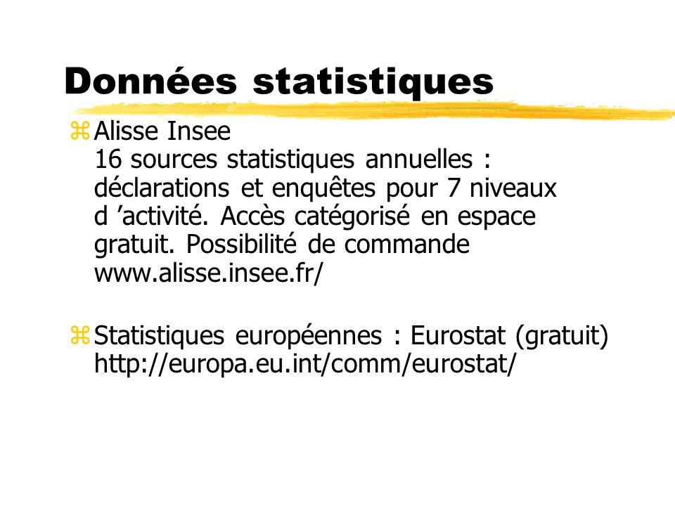Données statistiques zAlisse Insee 16 sources statistiques annuelles : déclarations et enquêtes pour 7 niveaux d activité. Accès catégorisé en espace