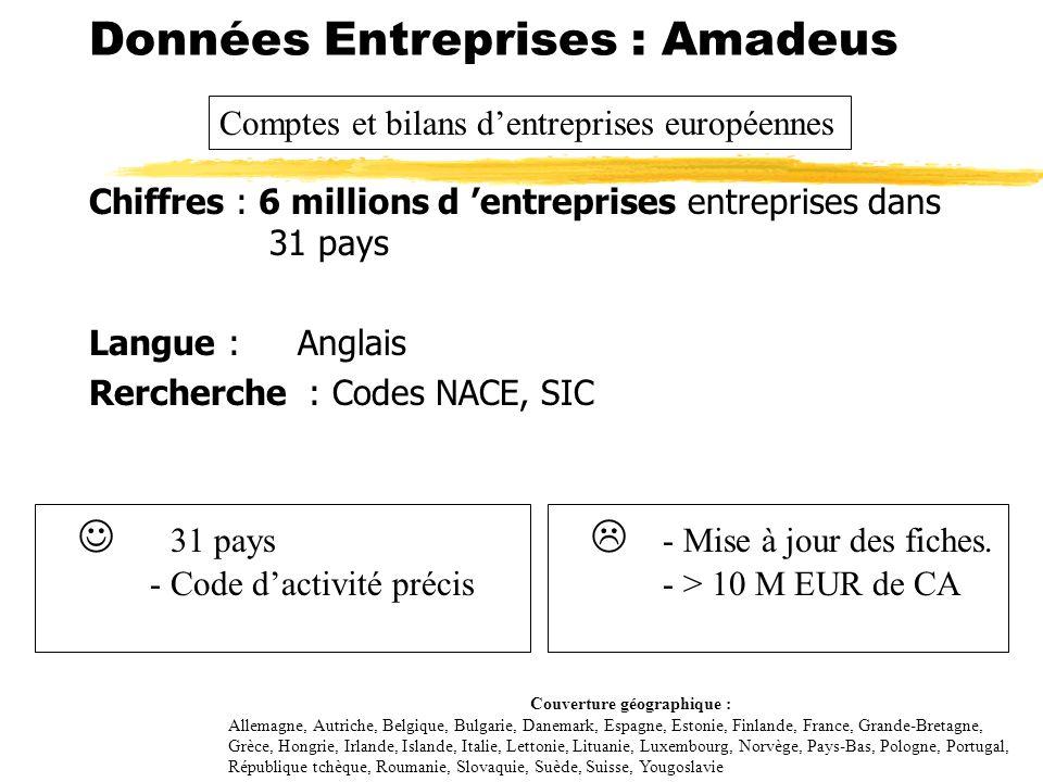 Chiffres : 6 millions d entreprises entreprises dans 31 pays Couverture : Europe Langue : Anglais Rercherche : Codes NACE, SIC Données Entreprises : A