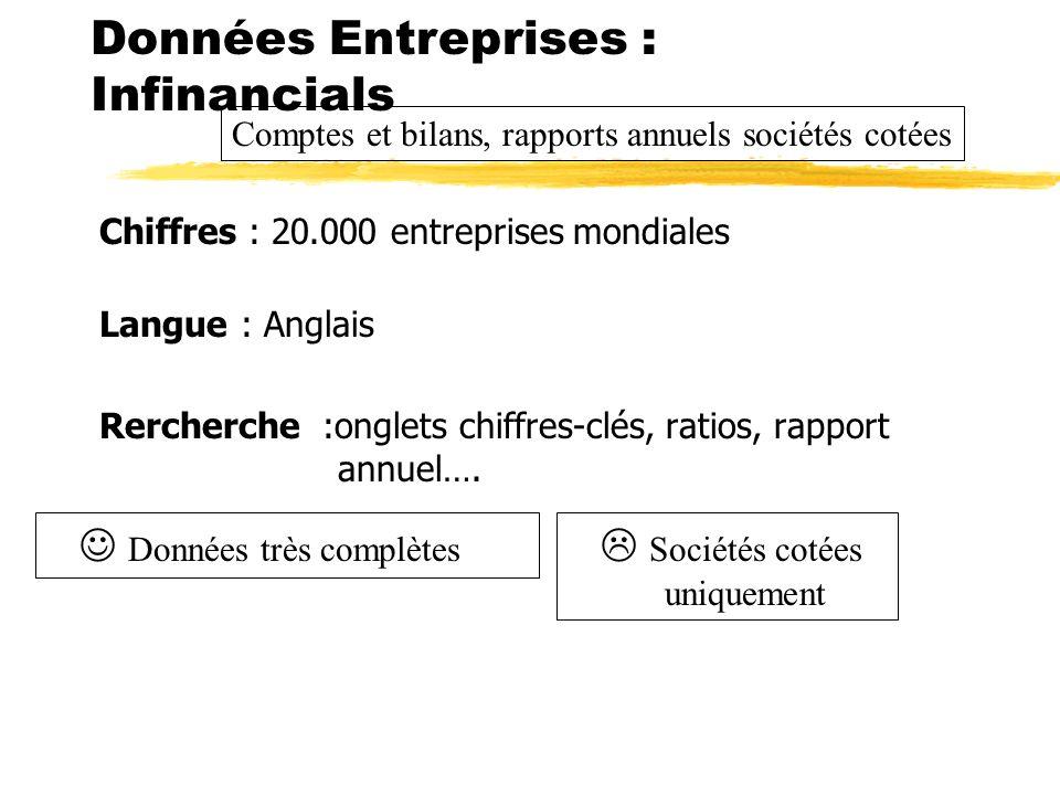 Chiffres : 20.000 entreprises mondialesCouverture : Europe Langue : Anglais Rercherche :onglets chiffres-clés, ratios, rapport annuel…. Données Entrep