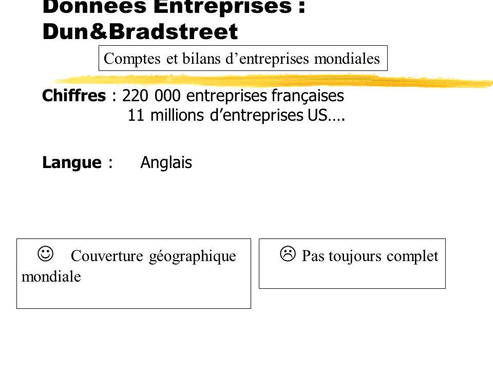 Chiffres : 220 000 entreprises françaises 11 millions dentreprises US…. Couverture : Monde Langue : Anglais Données Entreprises : Dun&Bradstreet Pas t