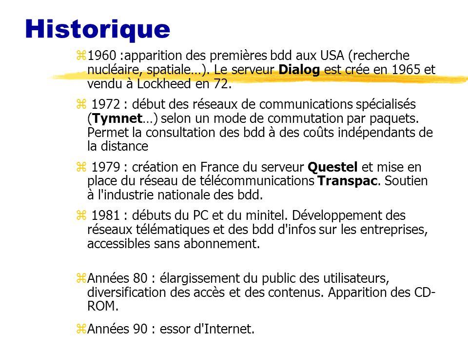 Historique z1960 :apparition des premières bdd aux USA (recherche nucléaire, spatiale…). Le serveur Dialog est crée en 1965 et vendu à Lockheed en 72.