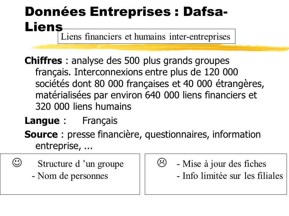 Données Entreprises : Dafsa- Liens Chiffres : analyse des 500 plus grands groupes français. Interconnexions entre plus de 120 000 sociétés dont 80 000