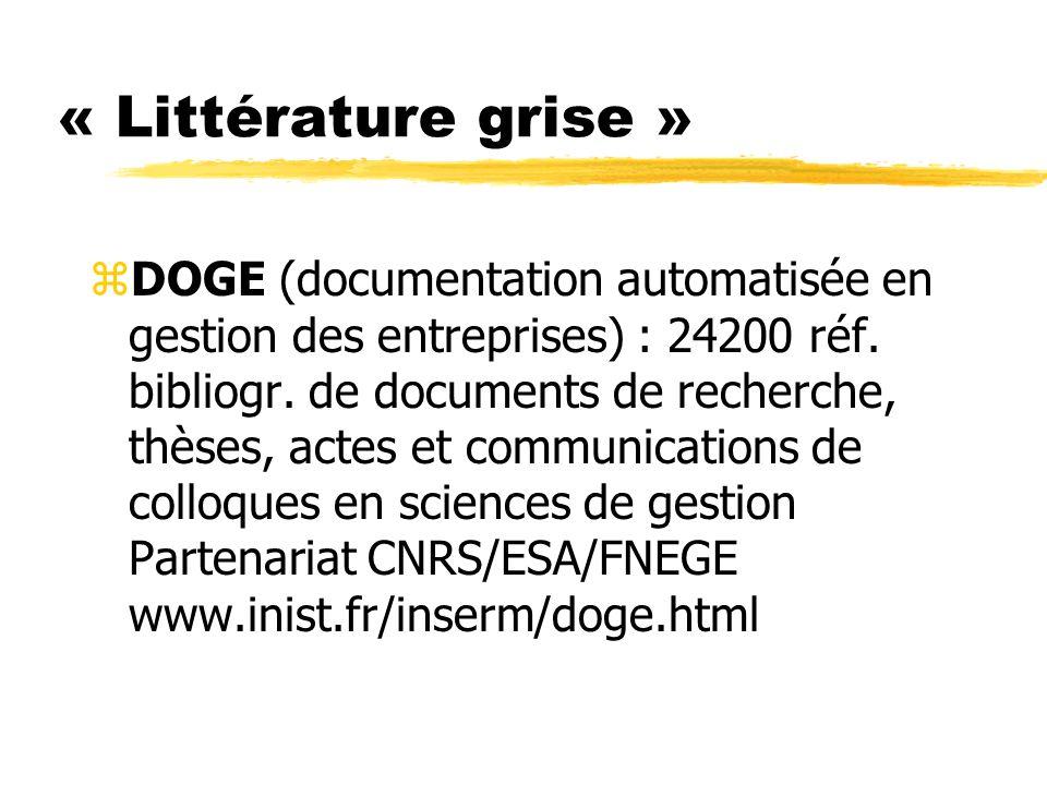 « Littérature grise » zDOGE (documentation automatisée en gestion des entreprises) : 24200 réf. bibliogr. de documents de recherche, thèses, actes et