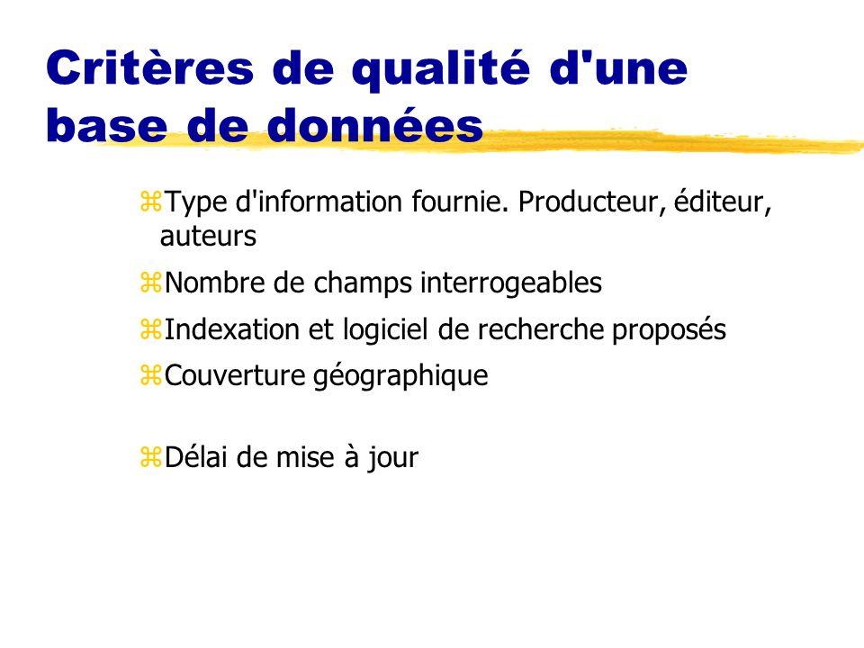 Critères de qualité d'une base de données zType d'information fournie. Producteur, éditeur, auteurs zNombre de champs interrogeables zIndexation et lo
