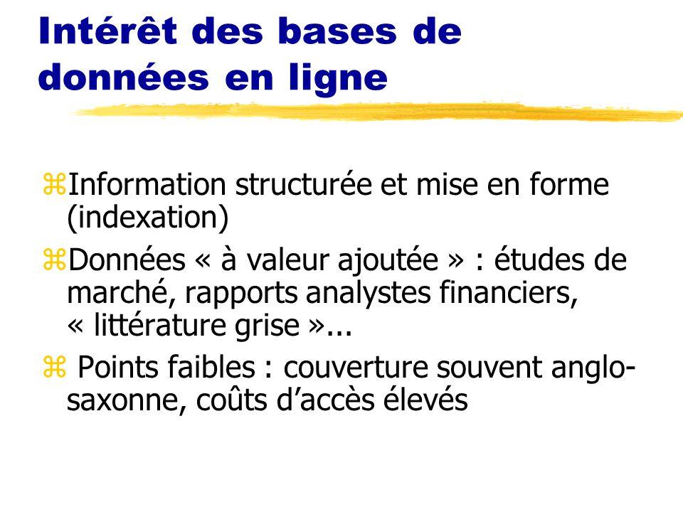 Intérêt des bases de données en ligne zInformation structurée et mise en forme (indexation) zDonnées « à valeur ajoutée » : études de marché, rapports