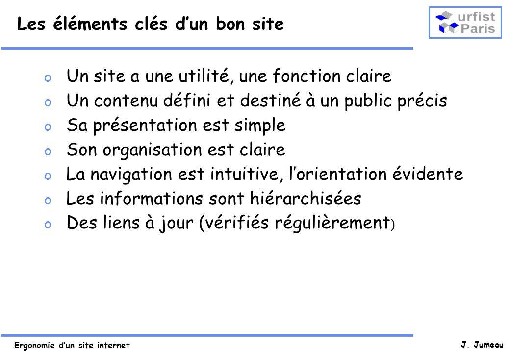 Ergonomie dun site internet J. Jumeau Les éléments clés dun bon site o Un site a une utilité, une fonction claire o Un contenu défini et destiné à un