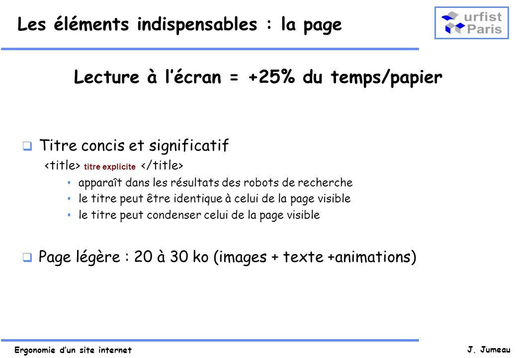 Ergonomie dun site internet J. Jumeau Les éléments indispensables : la page Lecture à lécran = +25% du temps/papier Titre concis et significatif titre