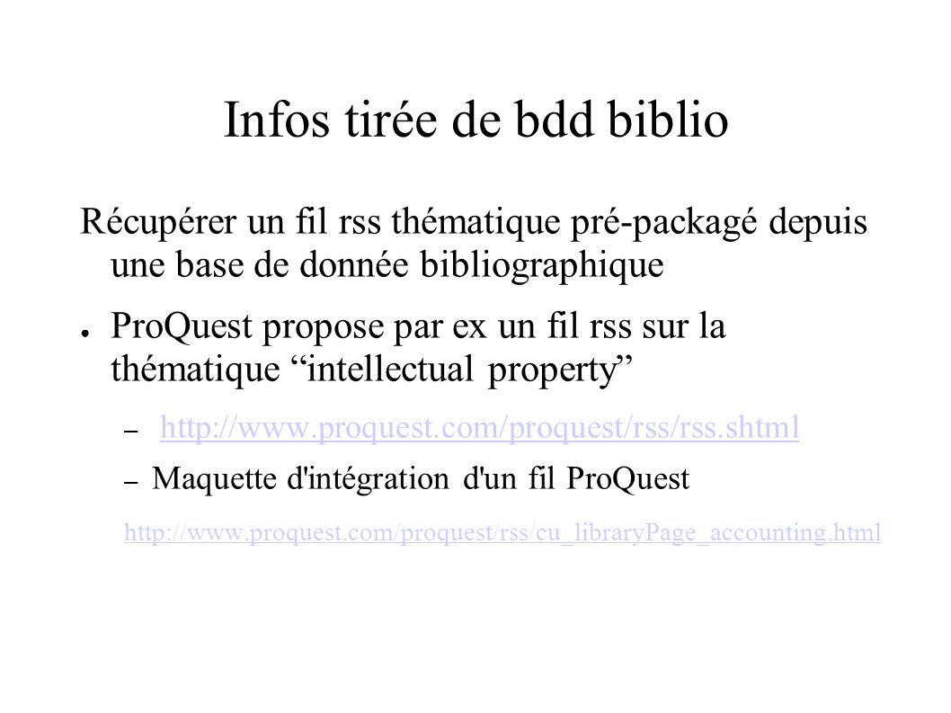 Infos tirée de bdd biblio Récupérer un fil rss thématique pré-packagé depuis une base de donnée bibliographique ProQuest propose par ex un fil rss sur la thématique intellectual property – http://www.proquest.com/proquest/rss/rss.shtmlhttp://www.proquest.com/proquest/rss/rss.shtml – Maquette d intégration d un fil ProQuest http://www.proquest.com/proquest/rss/cu_libraryPage_accounting.html