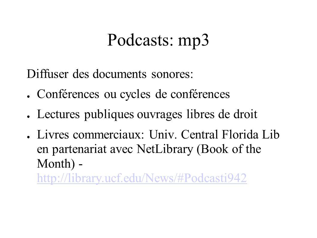 Podcasts: mp3 Diffuser des documents sonores: Conférences ou cycles de conférences Lectures publiques ouvrages libres de droit Livres commerciaux: Univ.