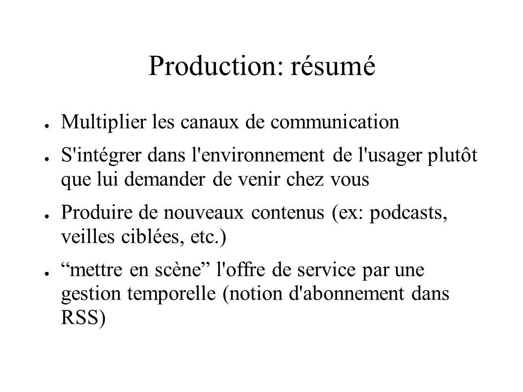 Production: résumé Multiplier les canaux de communication S'intégrer dans l'environnement de l'usager plutôt que lui demander de venir chez vous Produ