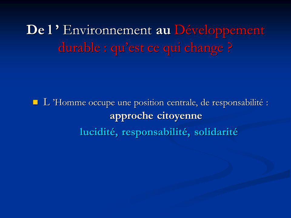 De l Environnement au Développement durable : quest ce qui change .